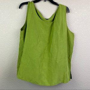Eileen Fisher Green Linen Silk Shirt Tank Top
